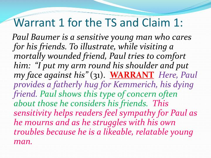 Warrant 1 for the TS and Claim 1: