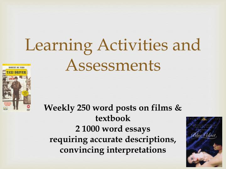 Learning Activities and Assessments