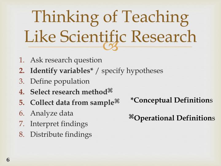 Thinking of Teaching Like Scientific Research