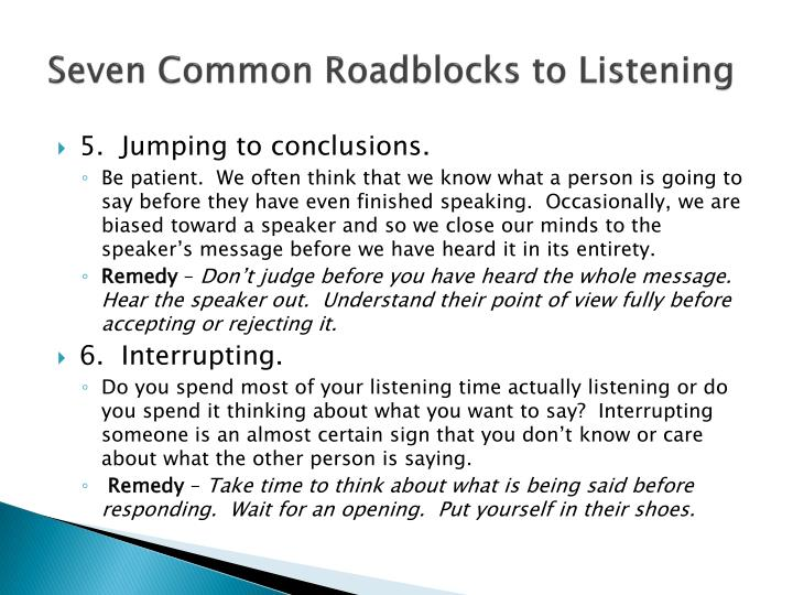 Seven Common Roadblocks to Listening