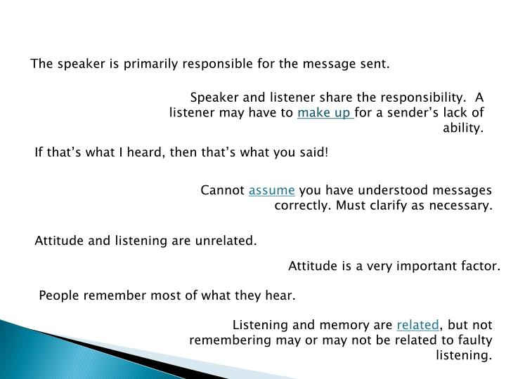 The speaker is primarily responsible for the message sent.