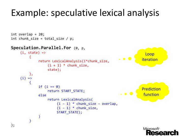 Example: speculative lexical analysis