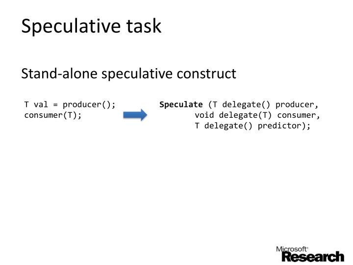 Speculative task