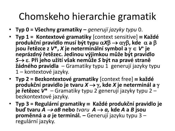 Chomskeho hierarchie gramatik