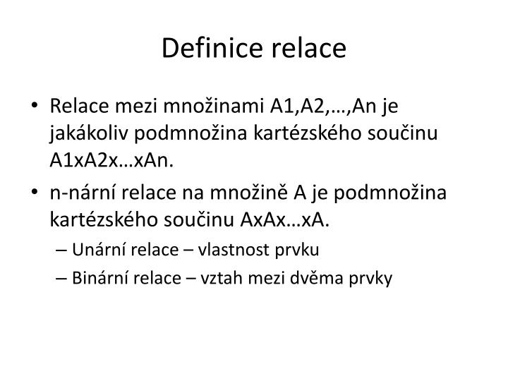 Definice relace