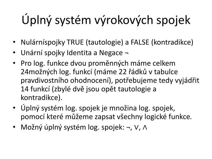 Úplný systém výrokových spojek