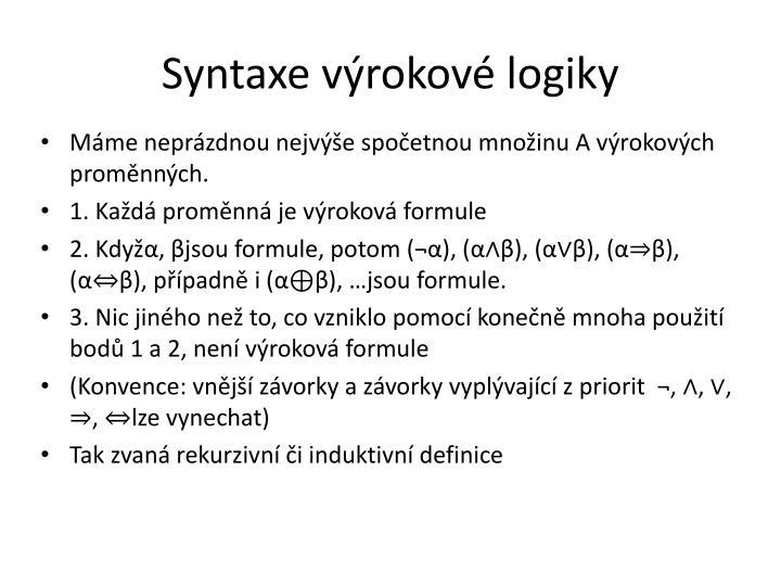 Syntaxe výrokové logiky