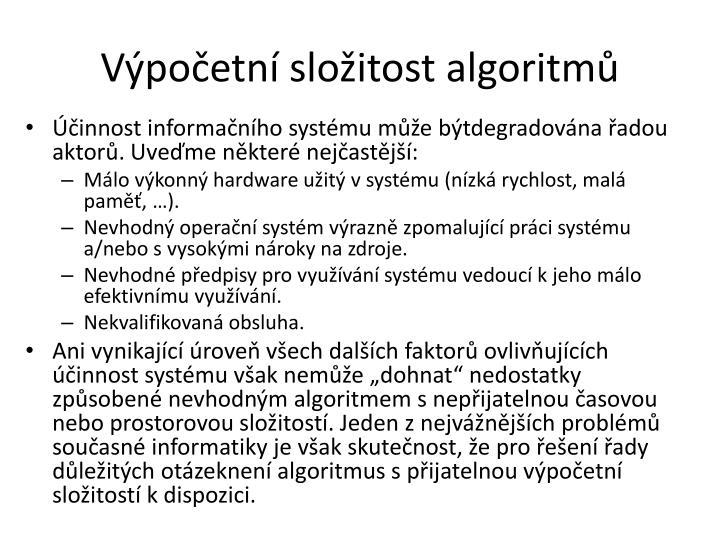 Výpočetní složitost algoritmů