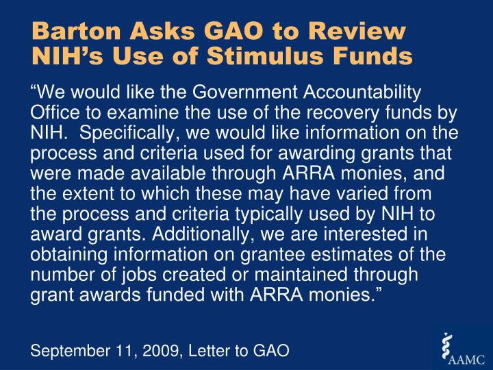 Barton Asks GAO to Review NIH's Use of Stimulus Funds