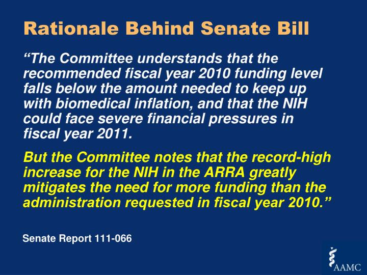 Rationale Behind Senate Bill