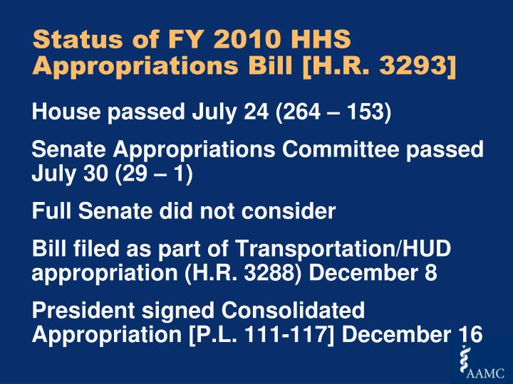 Status of FY 2010 HHS Appropriations Bill [H.R. 3293]