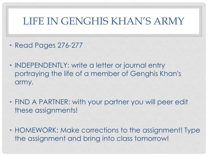 Life in Genghis Khan's Army