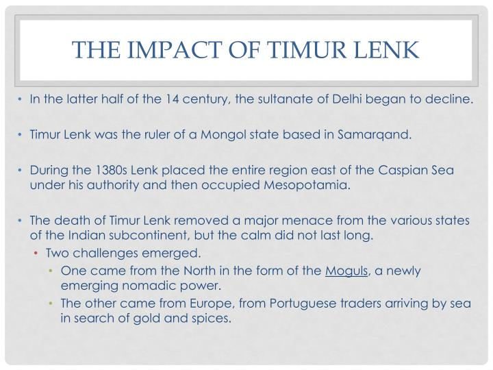 The Impact of Timur Lenk