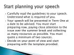 start planning your speech