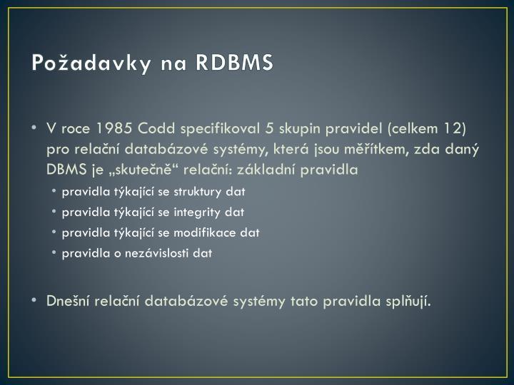 Požadavky na RDBMS