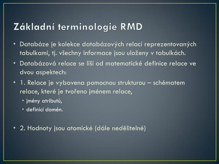 Základní terminologie RMD