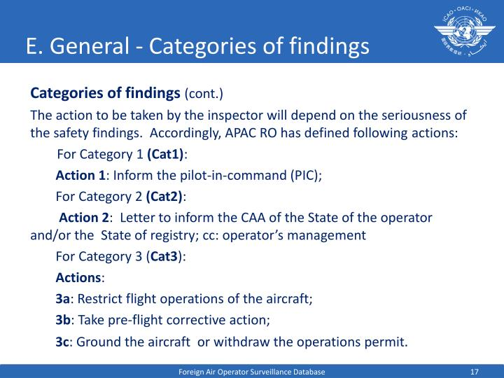 E. General - Categories of findings