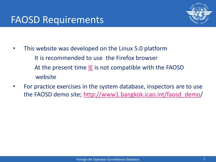 FAOSD Requirements