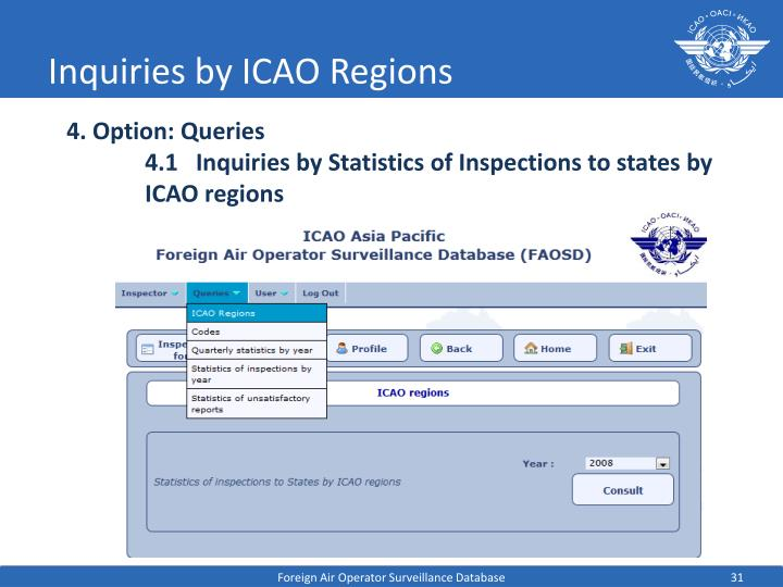 Inquiries by ICAO Regions