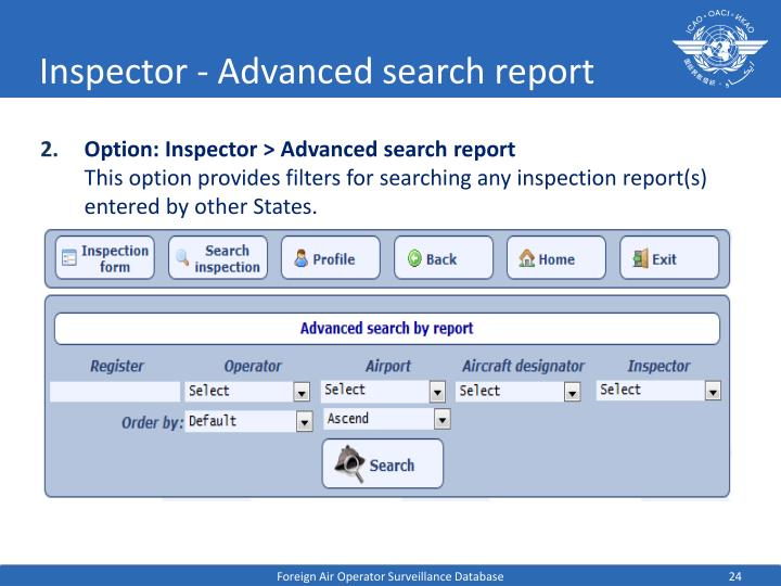 Inspector - Advanced search report