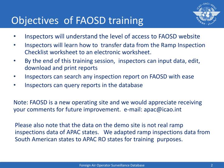 Objectives of faosd training