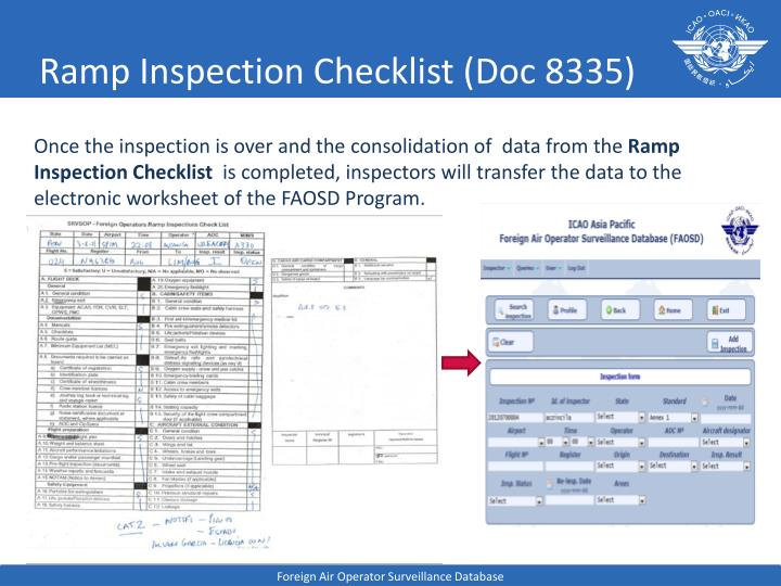Ramp inspection checklist doc 8335