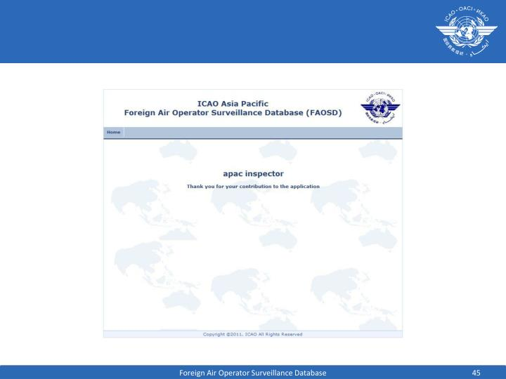 Foreign Air Operator Surveillance Database