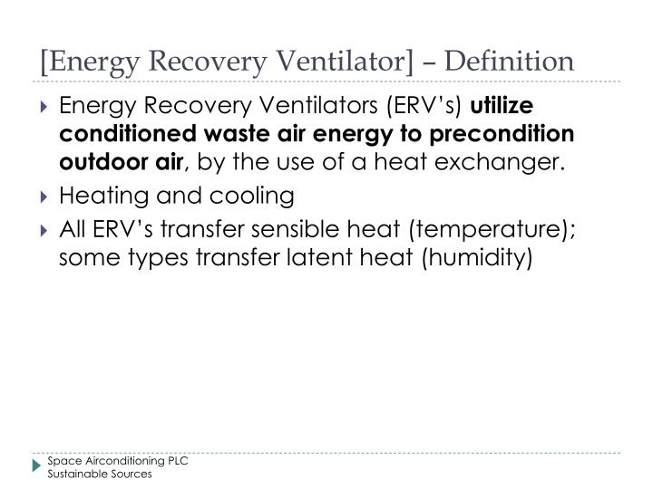 [Energy Recovery Ventilator] – Definition