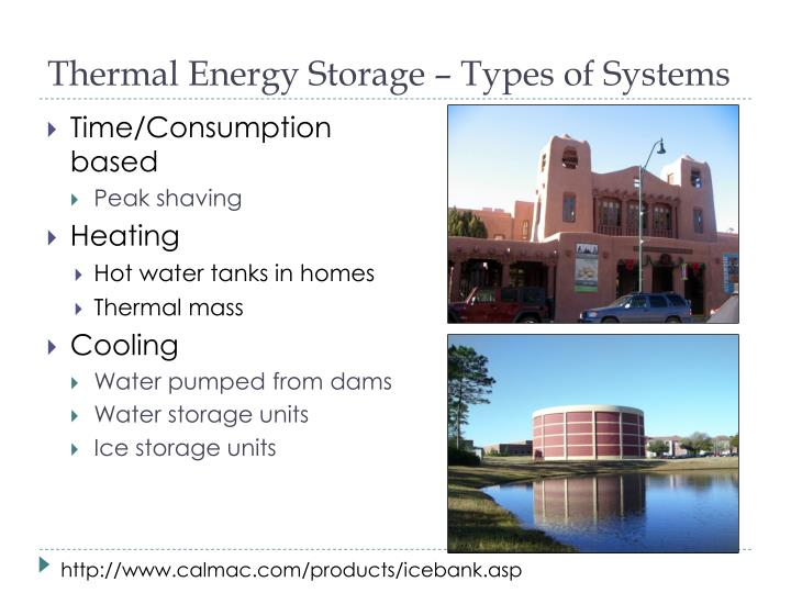 Thermal Energy Storage – Types of Systems