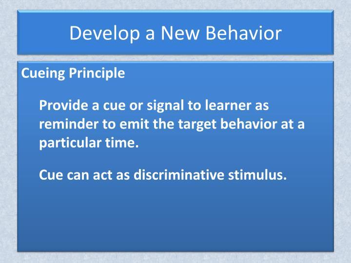Develop a New Behavior