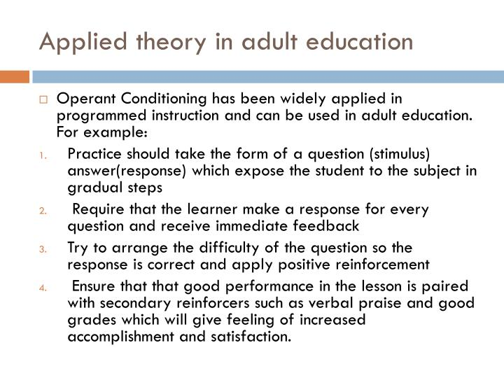 Applied theory in adult education
