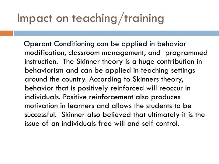 Impact on teaching/training