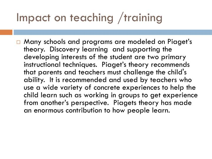 Impact on teaching /training