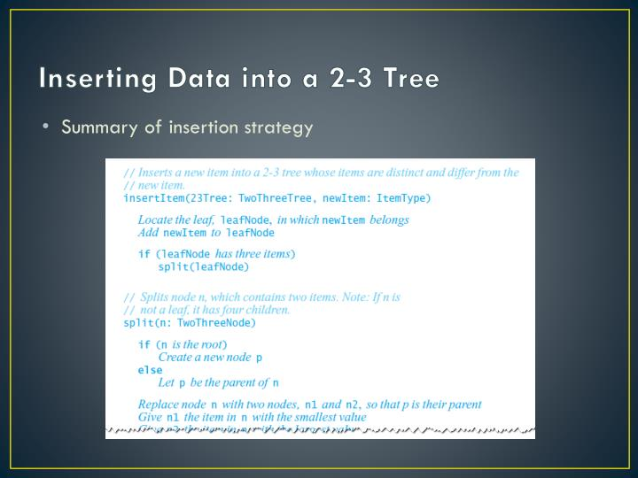 Inserting Data into a 2-3 Tree