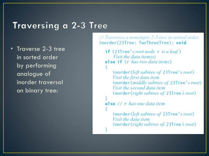 Traversing a 2-3 Tree