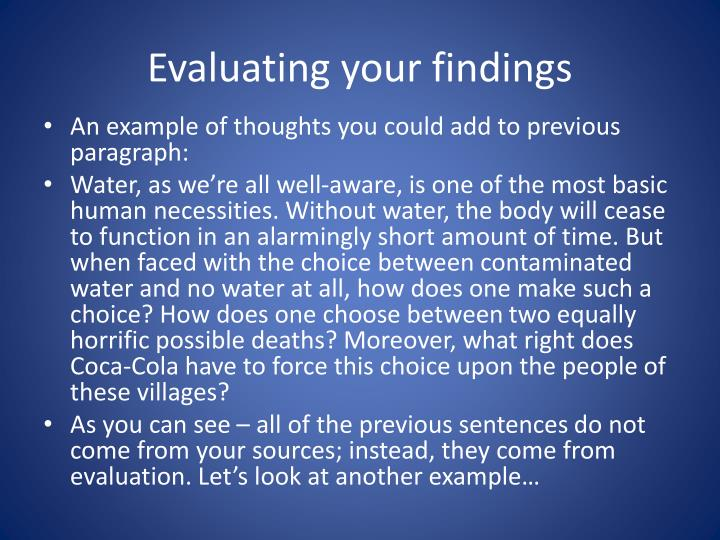 Evaluating your findings