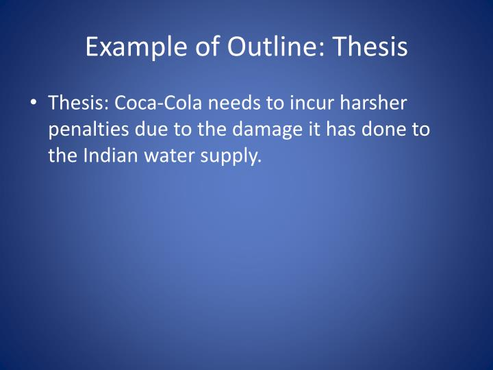 Example of Outline: Thesis