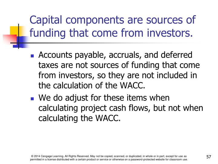 Capital components are sources of funding that come from investors.