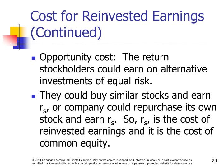 Cost for Reinvested Earnings (Continued)