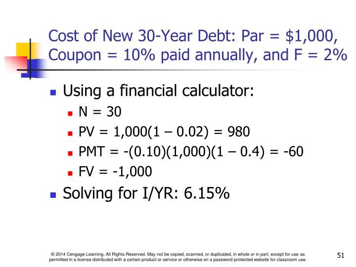Cost of New 30-Year Debt: Par = $1,000, Coupon = 10% paid annually, and F = 2%