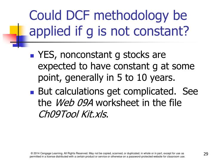 Could DCF methodology be applied if g is not constant?