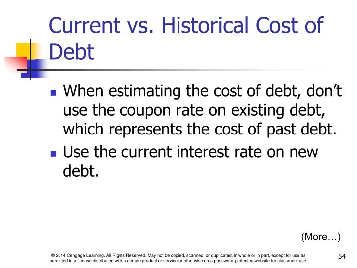 Current vs. Historical Cost of Debt