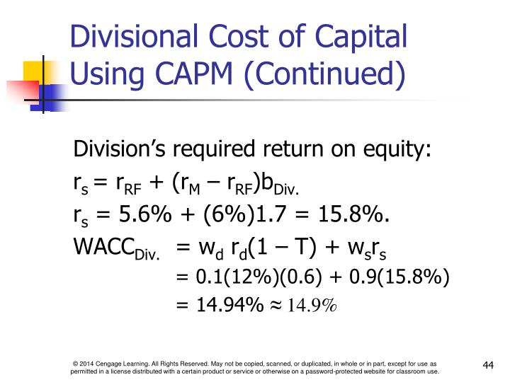 Division's required return on equity: