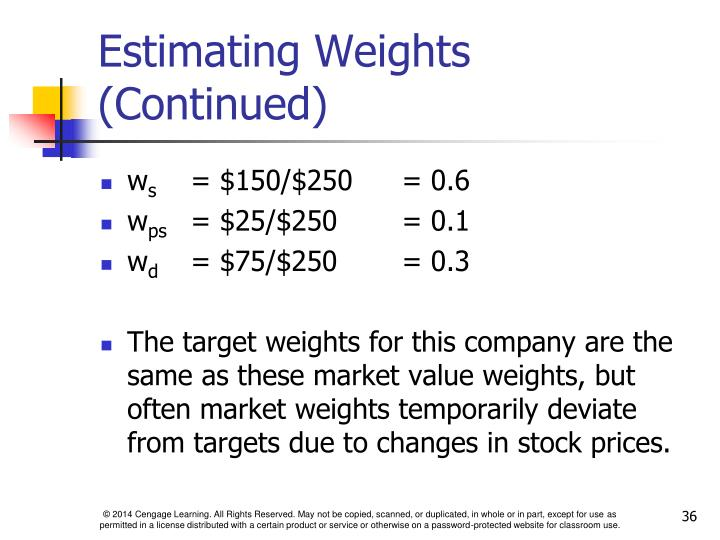 Estimating Weights (Continued)