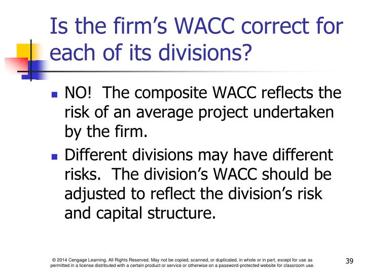 Is the firm's WACC correct for each of its divisions?