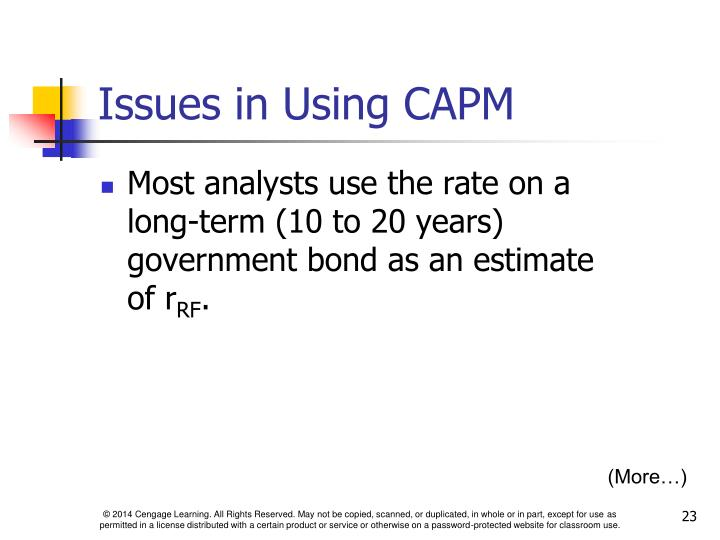 Issues in Using CAPM