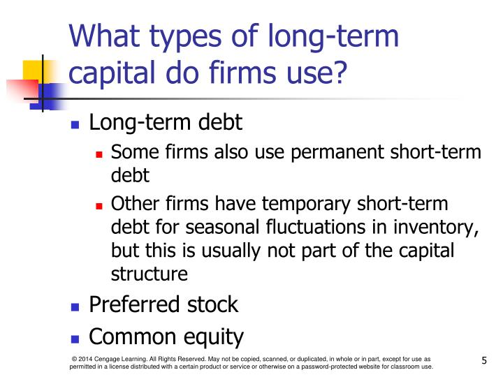 What types of long-term capital do firms use?