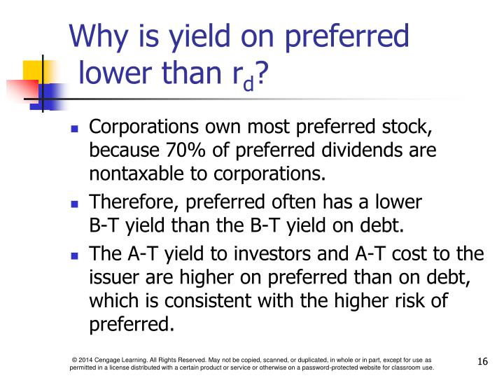 Why is yield on preferred