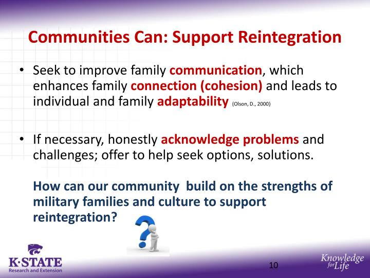Communities Can: Support Reintegration