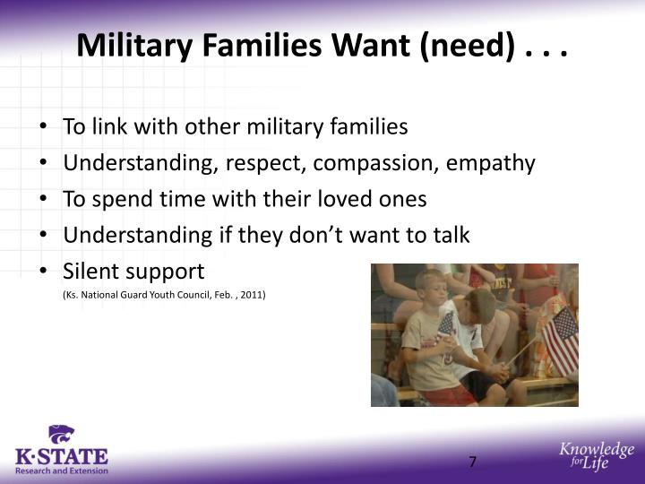 Military Families Want (need) . . .